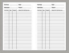 Free Printable Dog Vaccination Record   Free Printable Pet Health ...
