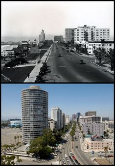 Looking East from the Villa Riviera in Long Beach (then and now) Long Beach California, Hotel California, Los Angeles California, Southern California, Vintage California, City By The Sea, Surf City, Los Angeles Area, English Countryside