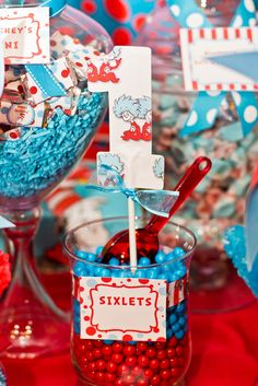 Dr Seuss' Cat in the Hat Birthday Party Ideas Matching Sixlets on a Dr. More party idea Dr Seuss Birthday Party, Pink And Gold Birthday Party, 2nd Birthday Party Themes, 1st Boy Birthday, First Birthday Parties, Birthday Ideas, Dr Seuss Party Ideas, Cat In The Hat Party, Dr Seuss Baby Shower