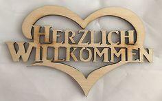 Holz Bild Türschild Herzlich Willkommen - Holz Deko Wand.- und - Türdeko