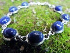 Lapis Lazuli Round Sterling Silver Bracelet Link Blue Cabochon Studded Simple, Sterling silver bracelet, gemstone bracelet, gift for her by CraftsIndiaDesigns on Etsy Sterling Silver Bracelets, Silver Jewelry, Lapis Lazuli, Precious Metals, Gifts For Her, Handmade Items, Drop Earrings, Gemstones, Jewellery
