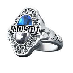 This feminine fashion design features unique Quadra® cut center stone, available in one or two colors. Personalize with up to 8 characters across the top of your exclusive cut stone. Feature your name, mascot name, school initials or yeardate (up to 8 characters) on each side. STYLE: L42