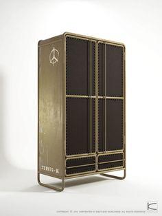 Contemporary wardrobe / metal / with hinged door / recycled - - Karpenter Wardrobe Storage Cabinet, Metal Storage Cabinets, Wardrobe Cabinets, Shelf Furniture, Metal Furniture, Furniture Design, Steel Wardrobe, Pax Wardrobe, Versace Furniture