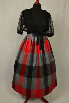 70s does 50s Red, grey and black tartan check wool full midi skirt size S/M