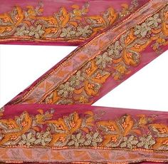 Trims Reliable Sanskriti Sari Border Antique Hand Embroidered 1yd Indian Trim Sewing Brown Lace Be Novel In Design