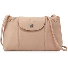 Longchamp Le Pliage Cuir Small Crossbody Bag (€210) ❤ liked on Polyvore featuring bags, handbags, shoulder bags, sandy, leather shoulder handbags, leather crossbody, leather cross body handbags, shoulder strap bag and leather purse