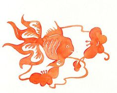 """ORANGE GOLDFISH, Chinese Paper cut Goldfish with Butterfly Flowers, Watercolor - 8"""" x 10"""" Print"""