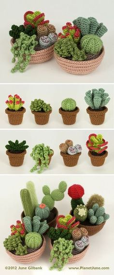 Crochet your own everlasting easy-care garden with mix-and-match cactus and succulent patterns: www.planetjune.com/cacti: