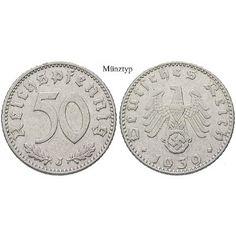Drittes Reich, 50 Reichspfennig 1940, D, ss, J. 372: Aluminium-50 Reichspfennig 1940 D. J. 372; sehr schön 13,50€ #coins