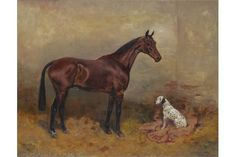 Thomas Ivester Lloyd A horse and a dalmation in a stable Signed Oil on canvas 43 x 53 The Saleroom, Wallis, Stables, Oil On Canvas, Auction, Horses, Pictures, Painting, Animals