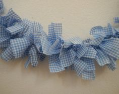 Gingham Garland, Blue and White, Wizard of Oz, Dorothy, Farmhouse, Country, Cottage Chic, Party, Wedding, Home Decor