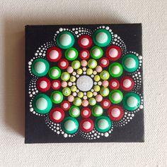 Pintura de Mandala pequeño original sobre lienzo, pintura, oficina y ornamento casero, arte del Henna regalo Dotilism Dotart, mandala azul