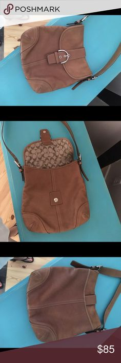 Brown Leather Coach Purse Coach Women's Cross Body SoHo Messenger Bag G35-9481 EUC. Buttery brown leather, lightly used. Authentic. Large flap, cross body, magnetic closure. Coach Bags