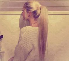 """I couldn't understand why he liked my ponytail. I put one in on bad hair days, but he always said, """"You look so cute with a ponytail"""" :) Blonde Ponytail, Ponytail Hairstyles, Pretty Hairstyles, Straight Hairstyles, Straight Ponytail, Long Hair Cuts Straight, Famous Hairstyles, Long Hair Ponytail, Long Haircuts"""
