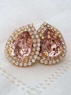 Blush Pink extra large teardop Swarovski stud earrings | Blush crystal earrings | blush bridal earrings | Blush Bridesmaids earrings | blush wedding| | http://etsy.me/1hGYO21 | by EldorTinaJewelry