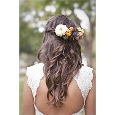 Boho braided crown loose waves flowers Hair and Beauty Tutorials ❤ liked on Polyvore