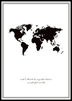 Poster with a black and white world map. Posters with worldmaps
