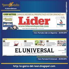 #LeonesEnPortadas Líder en Deportes y El Universal del 20 de Septiembre de 2014 #Leones #Caracas #LeonesDelCaracas #LVBP #Caraquistas #LaGarraDelLeon #Venezuela