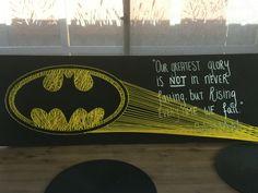 Batman String Art, String art by Kira Lowman, yellow and Black, for Celine, batman quote