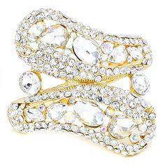Clear Aurora Borealis AB Crystal Rhinestone Jewel Stone Formal Evening Bridal Wedding Gold Chunky Hinged Bangle Bracelet Elegant Costume Jewelry