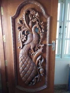 Pooja Door Design, Wood Carving Designs, Cnc Router, Door Handles, Doors, Furniture, Home Decor, Carved Beds, Slab Doors