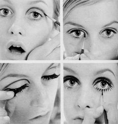 Twiggy make-up tutorial, note: use grey eyeshadow in crease not eyeliner and use a damp brush to get the eyeshadow strong and less smudgy while applying. Mod Makeup, 1960s Makeup, Twiggy Makeup, Vintage Makeup, Makeup Inspo, Makeup Inspiration, Makeup Tips, Beauty Makeup, Hair Makeup