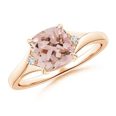 Love this Jewelry Style from Angara! Split Shank Cushion Cut Morganite Solitaire Ring with Diamond Accents in Rose Gold