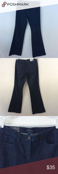 """New York & Company Flared Blue Denim Jeans 10 Tall These dark blue flared denim jeans are a size 10 TALL  Per tag:  Downtown Rise The perfect jean for casual or dress wear.  Wear with a crop top or waist length top to show off pockets & center seam!  Length:  44 1/2"""" (outseam) Waist:  36""""  Inseam:  35"""" Front Rise:  9 3/4"""" Back Rise:  14 1/2""""  Leg Opening:  22""""   Measurements are approximate.  Smoke Free/Dog Friendly Home🌸 New York and Company Jeans Flare & Wide Leg"""