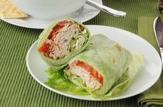 """Turkey Lettuce Wraps - I've made this with the """"wrap"""" being a large romaine lettuce leaf to eliminate the carbs and calories of the normal bread-type wrap, and stuffed with 1 slice of turkey, sliced tomato, shredded carrot, sliced cucumber, and a touch of mustard - it is SO good! Very healthy and satisfying. Could add alfalfa sprouts, sautéed mushroom, cheese etc too!"""