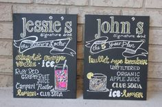 """Wedding Decoration Sign 12"""" x 16"""" , Signature Drink Canvas, Hand painted chalkboard Style, $43 each"""