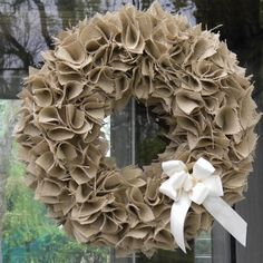 Best 12 How to Make a Swatch Burlap Wreath Tutorial (Video). See how to make a DIY burlap wreath from creative swatches of fabric and ribbon. Burlap Projects, Burlap Crafts, Burlap Bows, Wreath Crafts, Diy Wreath, Burlap Wreaths, Ribbon Wreaths, Diy Crafts, Burlap Curtains