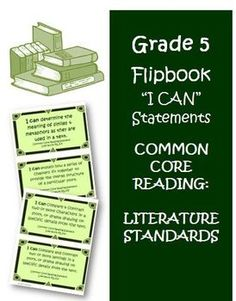 Fifth Grade Math Common Core Reading Literature  I Can Cards! A must have for any 5th grade teacher! $