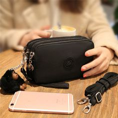 Only US$15.53, buy best PRETTYLINA Waterproof Multi-functional Zippers Wallet Shoulder Bag Handbag For 5.5-inch Smartphone sale online store at wholesale price.US/EU warehouse.
