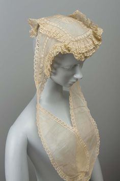 Cap | Museum of Fine Arts, Boston. Flat embroidered muslin cap with lappets, trimmed with lace.