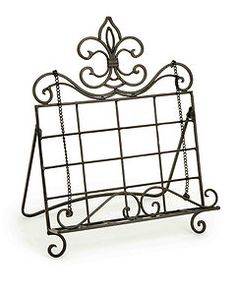 FRENCH COUNTRY Fleur De Lis COOK BOOK Holder Stand Metal Bookstand Recipe Easel