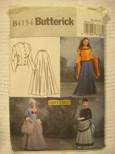 Renaissance Costume Pattern Medieval 18th Century Victorian 12-14 Butterick 4154 #Butterick
