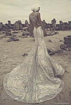 julia kontogruni 2015 beaded wedding dress illusion back view