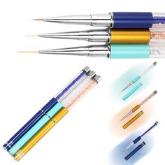 3Pcs/Set Nail Art Liner Brushes Rhinestone Diamond Metal Acrylic Handle For UV Gel Polish Painting Drawing Lining Nails Manicure -- BuyinCoins.com