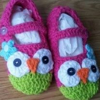Too Cute! Pink/green owl booties  Pink/purple owl booties  or   Football booties    Sizes:  3-6mo  6-12mo  12-18mo    This is a preorder at this time. Item will be available for local pickup or shipping in 14-31days.