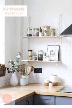 Une jolie étagère faite maison pour égailler votre cuisine ou votre maison! le tutoriel du DIY se trouve sur le blog.
