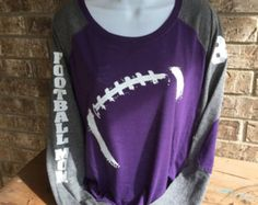 Football Laces T-Shirt football mom shirt Long Sleeve preppy