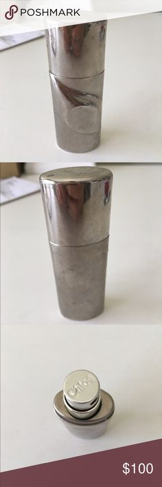 Chloe Silver Portable Perfume Spray Authentic vintage Chloe spray bottle. Opens from top via twisting off cap and is able to be refilled with a new scent. Great for travel and super sleek design! Open to reasonable offers through feature! NO TRADES some tarnishing as pictured. Chloe Makeup