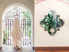 Details of our bride's gorgeous wedding dress and bouquet at the LA River Center and Garden ...