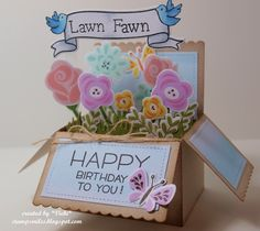 Lawn Fawn, birthday, Lawn Fawnatics, flowers, Fab Flowers, Scalloped Box Card Pop-Up, Pop-Up Box card, butterflies, birds