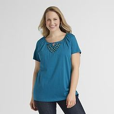 Basic Editions  Women's Plus Top - Beaded