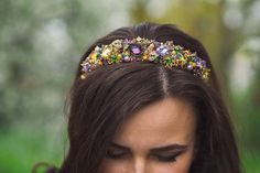 Purple dolce headband Gold crystal crown Baroque headband