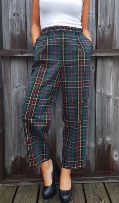 #pants #trousers #slacks #thrift #diy #sewing #office #work #business #plaid #2017 #culotte
