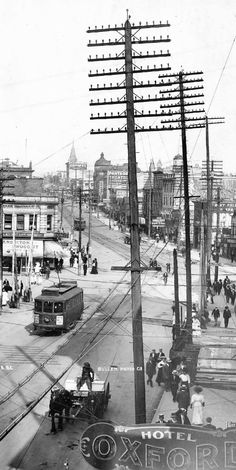 Hastings and Carrall, 1909 Source: Photo by Harry Bullen (cropped), City of Vancouver Archives Str Old Pictures, Old Photos, Vintage Photos, Vancouver Bc Canada, Vancouver Photos, Montreal Canada, Canadian History, Local History, Canadian Rockies