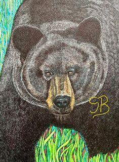 Bear - Big Bruin | Suzanne Berton's Canadian Art Reptiles, Mammals, Canadian Art, Bear Art, Black Bear, Sloth, Turtle, Art Ideas, Moose Art
