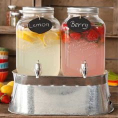 The Pioneer Woman Simple Homemade Goodness Double 1-Gallon Twin Set Drink Dispenser with Ice Bucket, 2 Mini Chalk Boards and Chalk Pencil, Clear